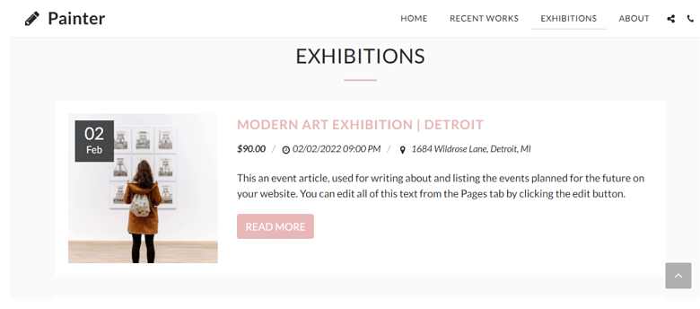 SITE123 Painter Exhibitions Page