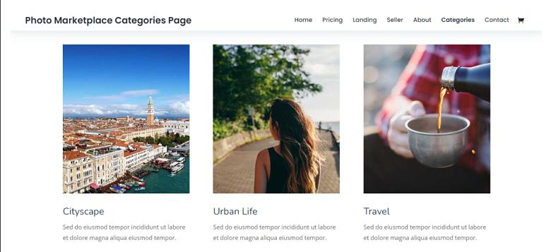 WordPress Photo Marketplace Category Page