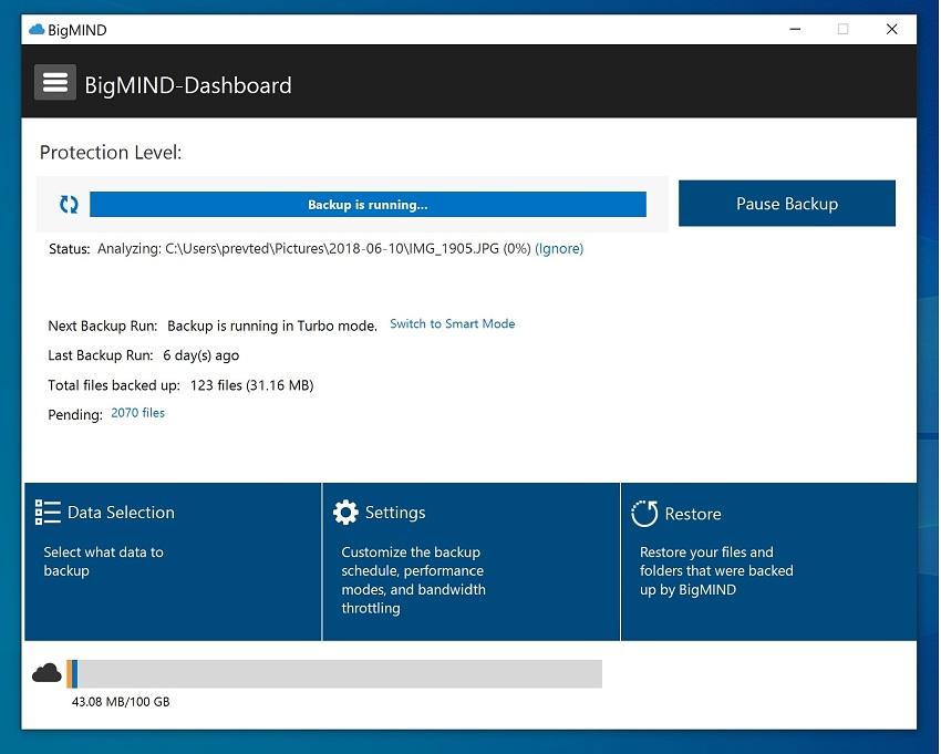 BigMIND backup dashboard