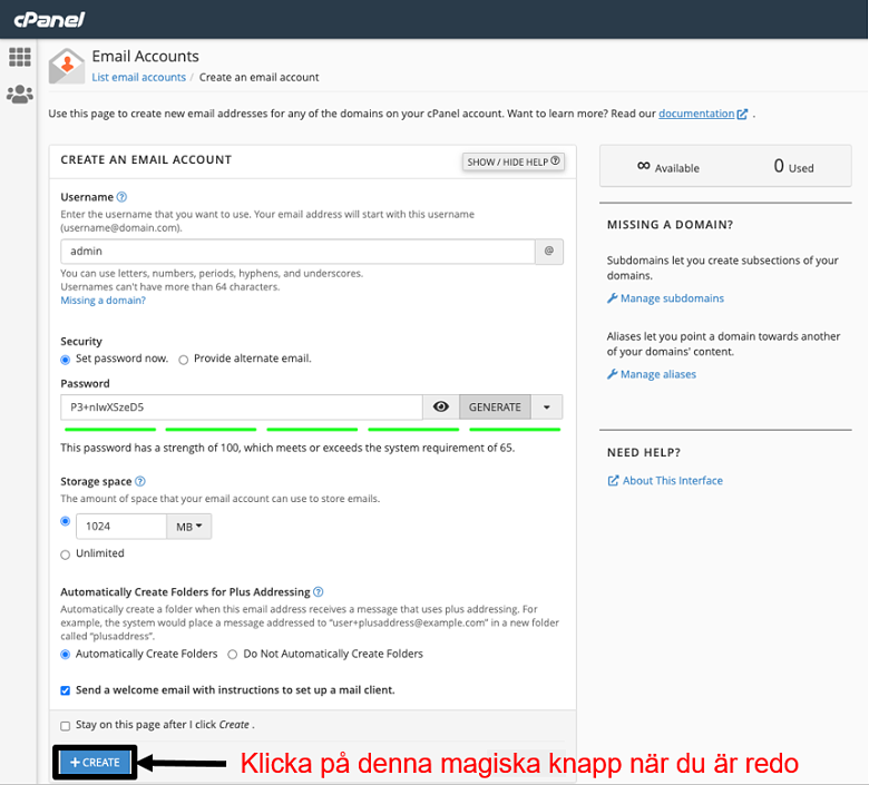 cPanel - create email account 2