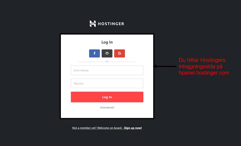 Hostinger - login screen