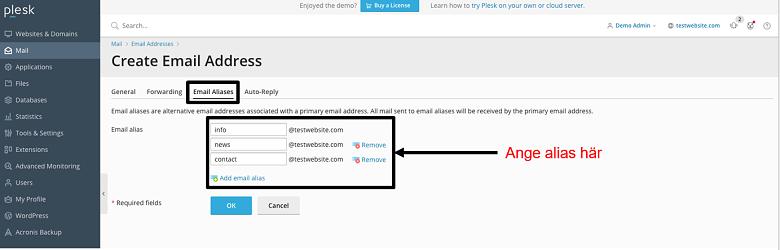 Plesk - email aliases