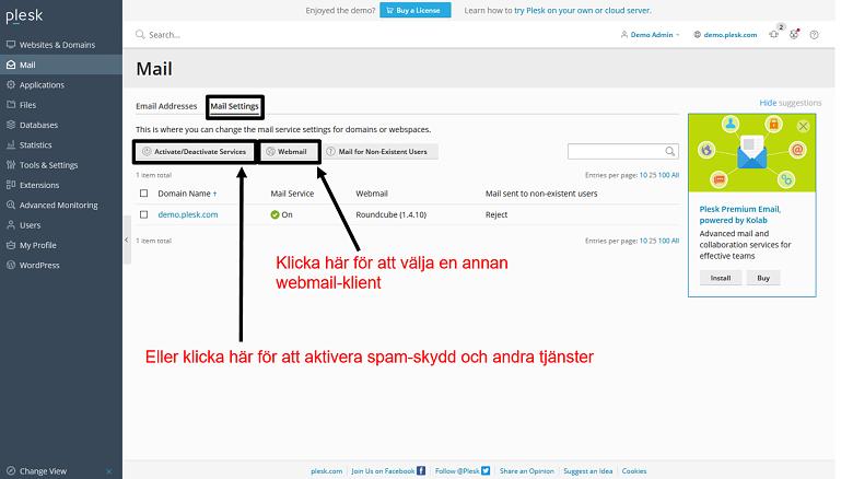 Plesk - email settings