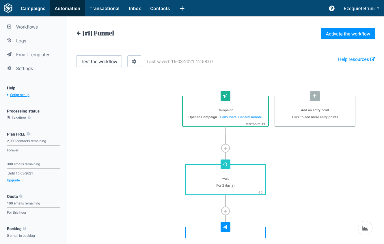 the automation screen