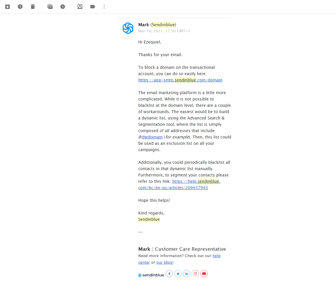 my first email to support