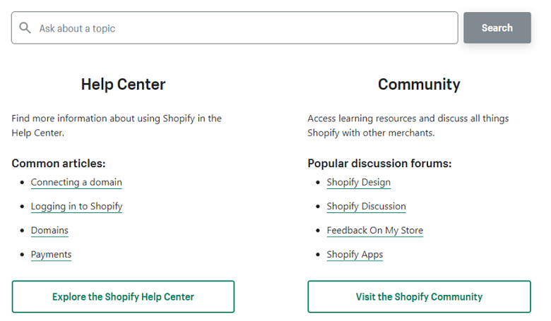 Shopify Support Center