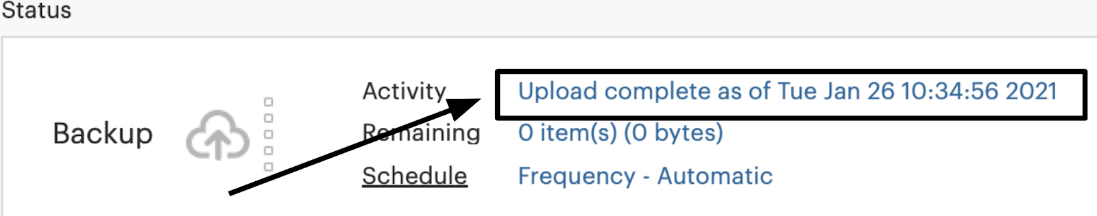 SpiderOak One upload complete notification