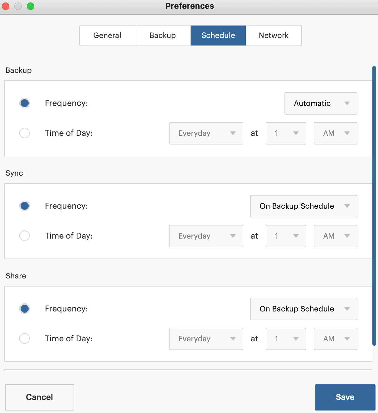 SpiderOak One schedule preferences