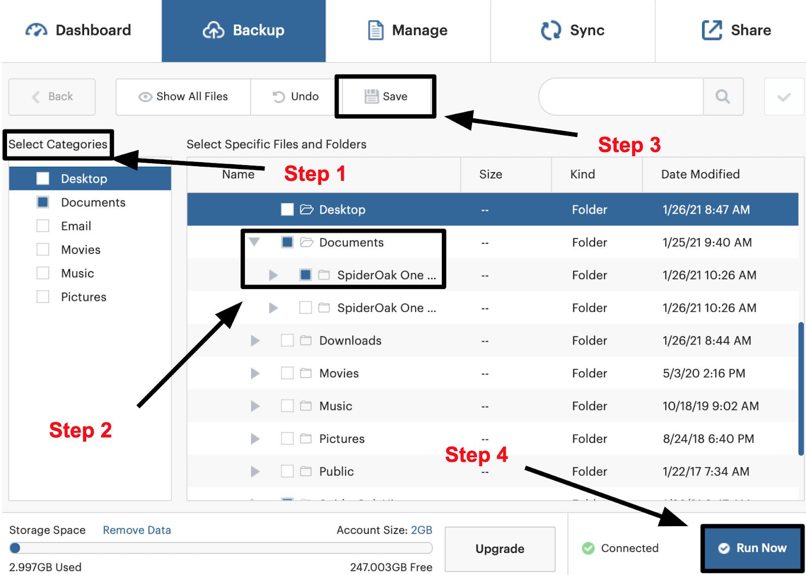 SpiderOak One steps to choose files for backup