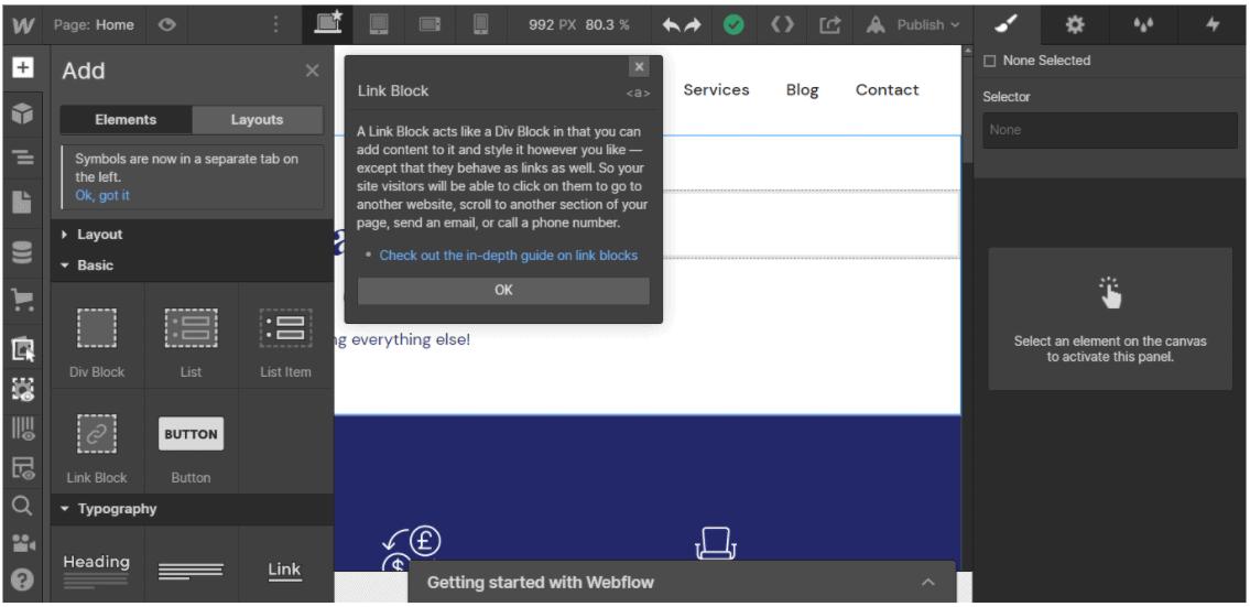 Webflow Site Designer