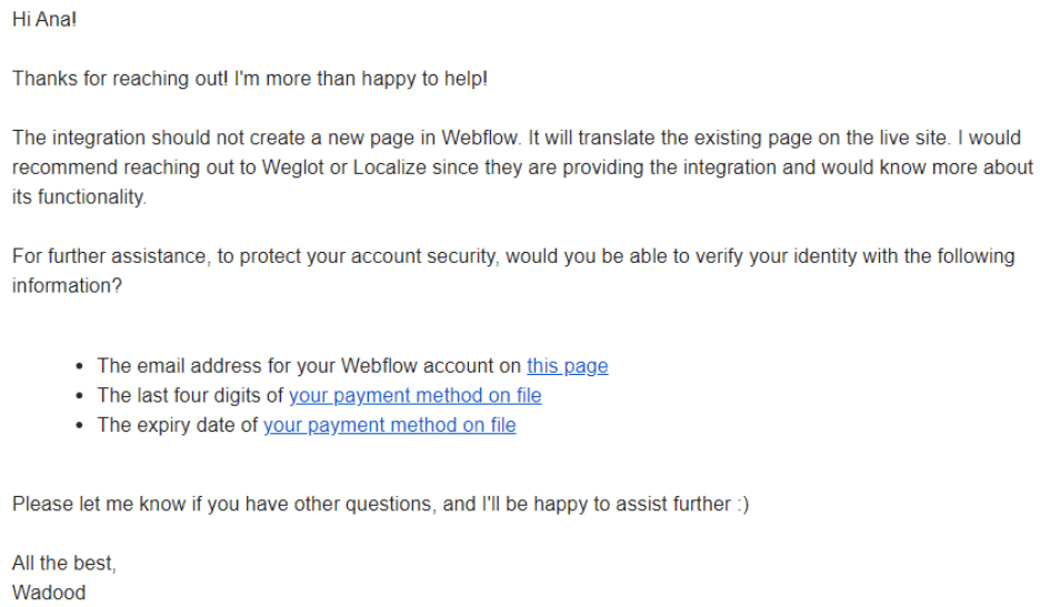 Webflow Email Support