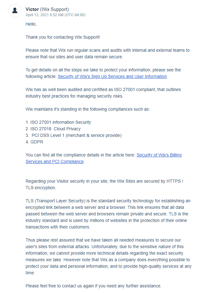 my second email from Wix support