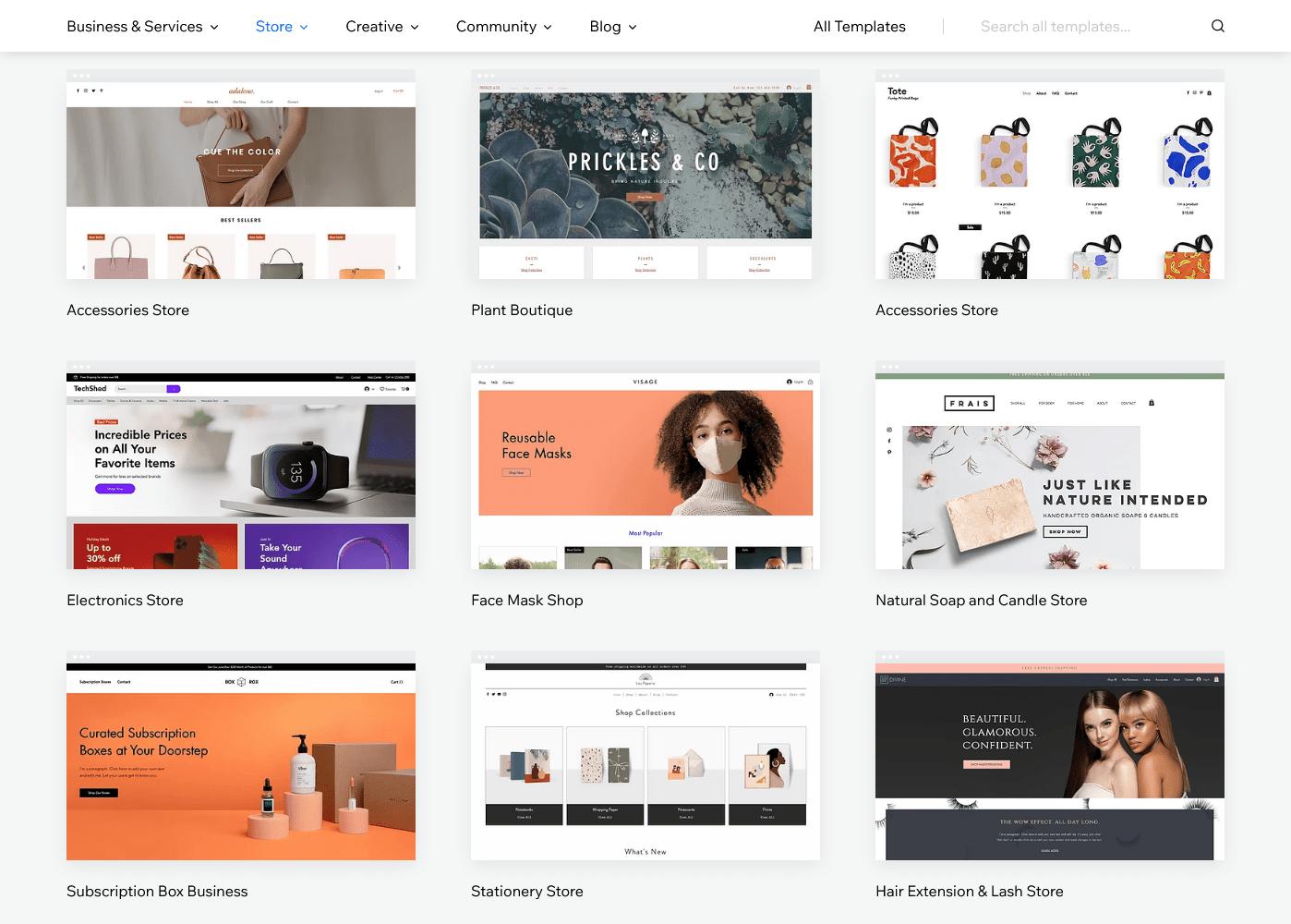 Wix's ecommerce templates