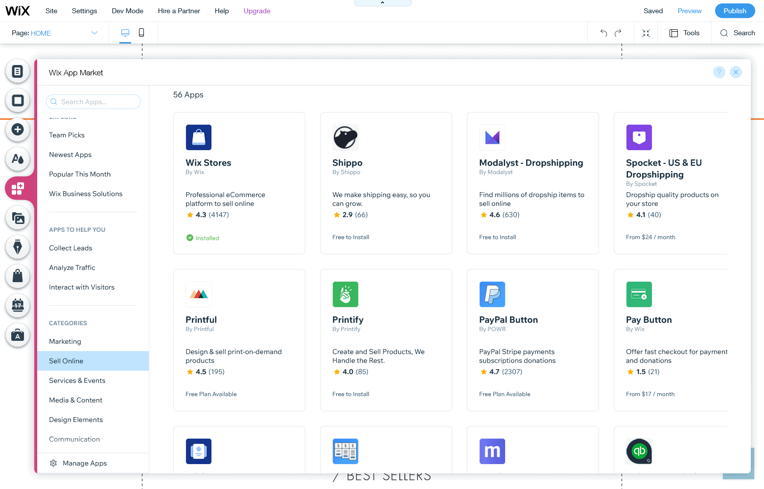 the Wix app marketplace