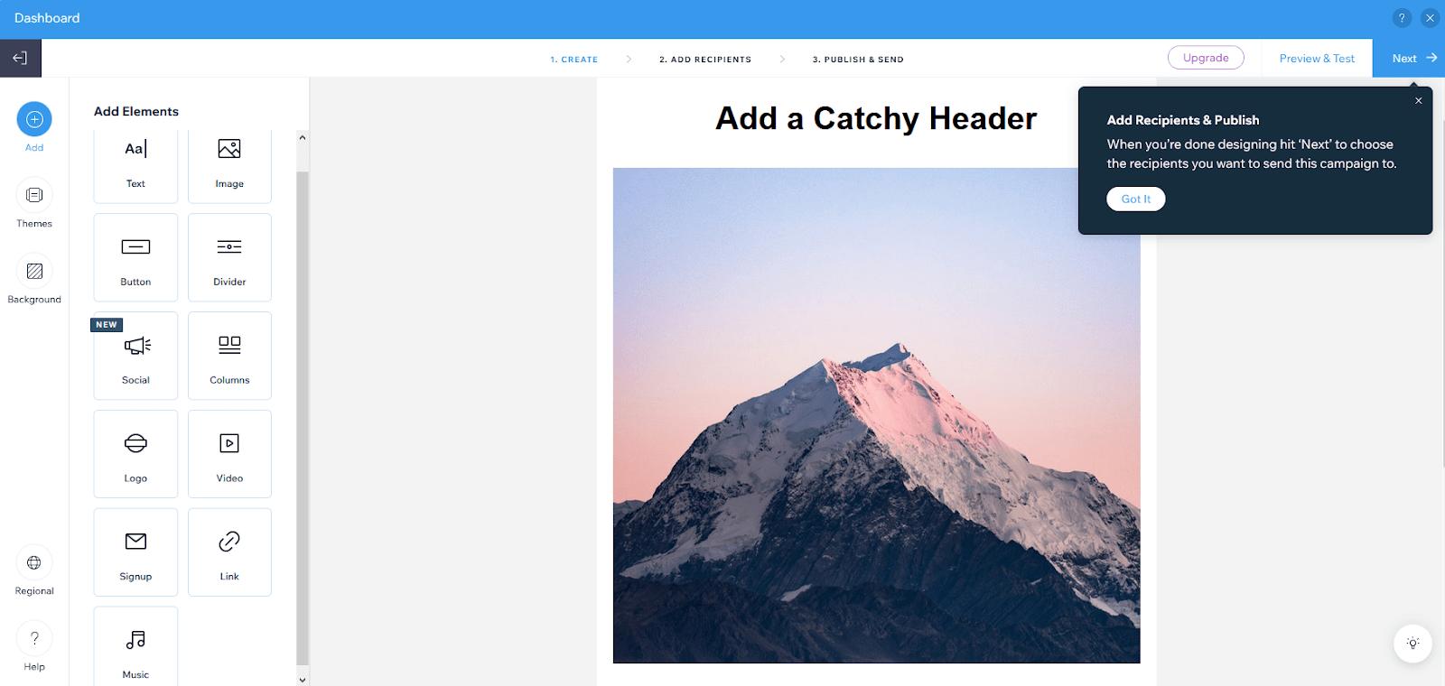 Wix email marketing dashboard