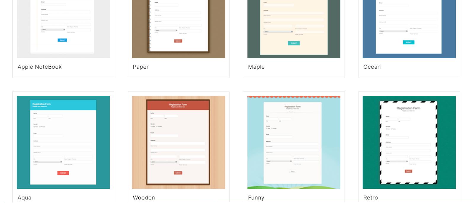 Zoho forms templates