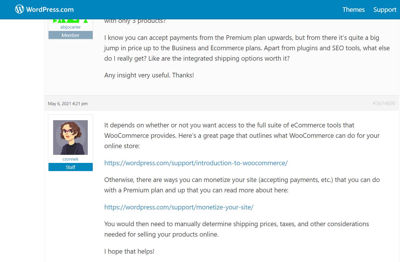 WordPress forum support