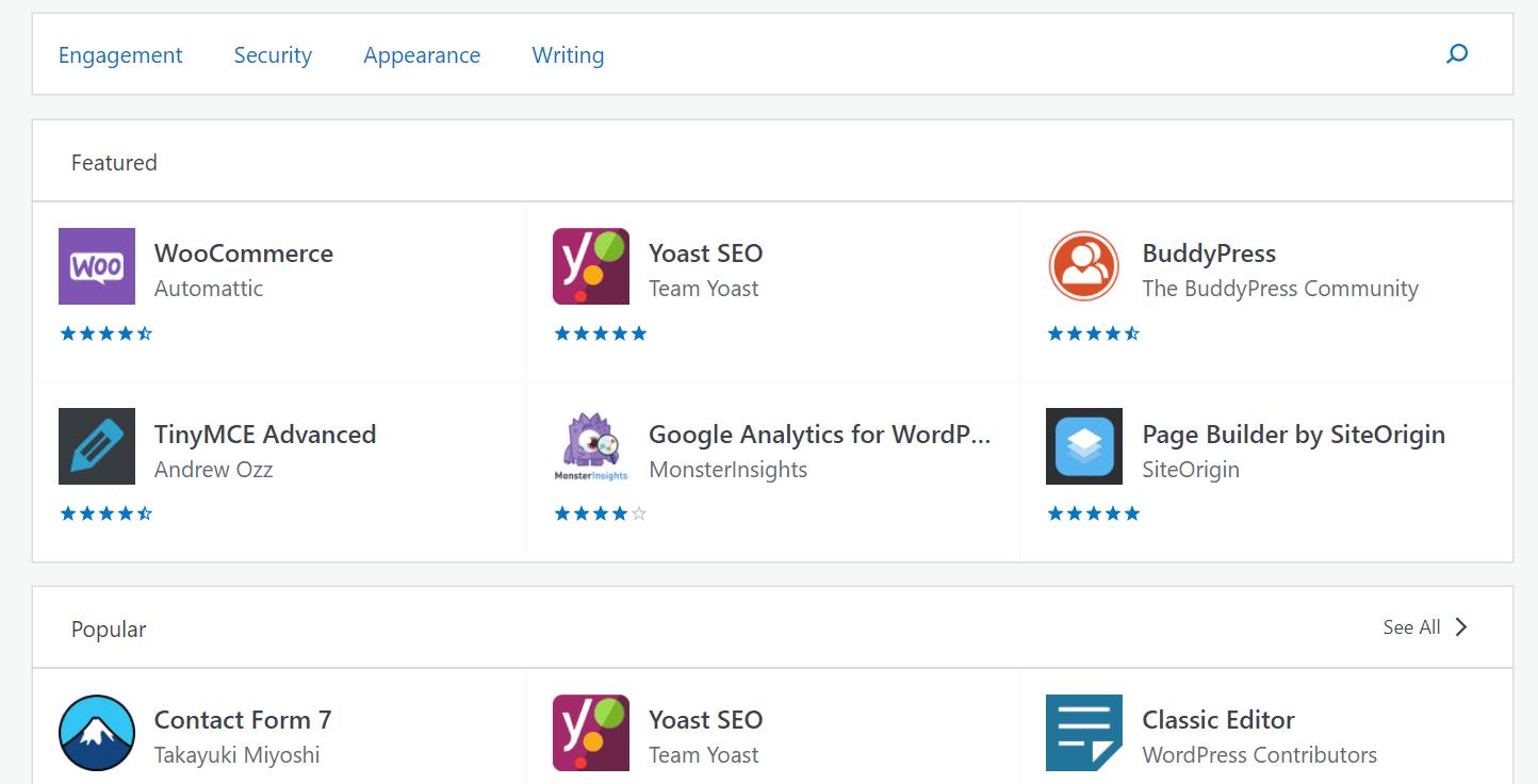 Wordpress.com plugin gallery