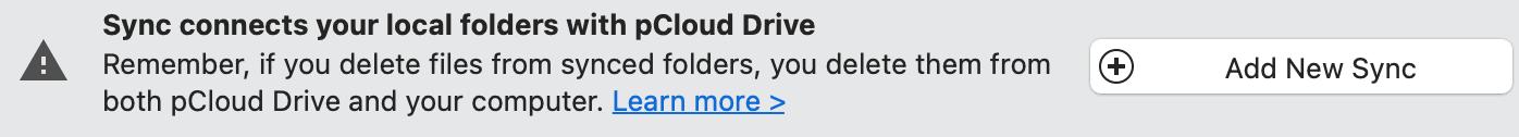 pCloud sync warning