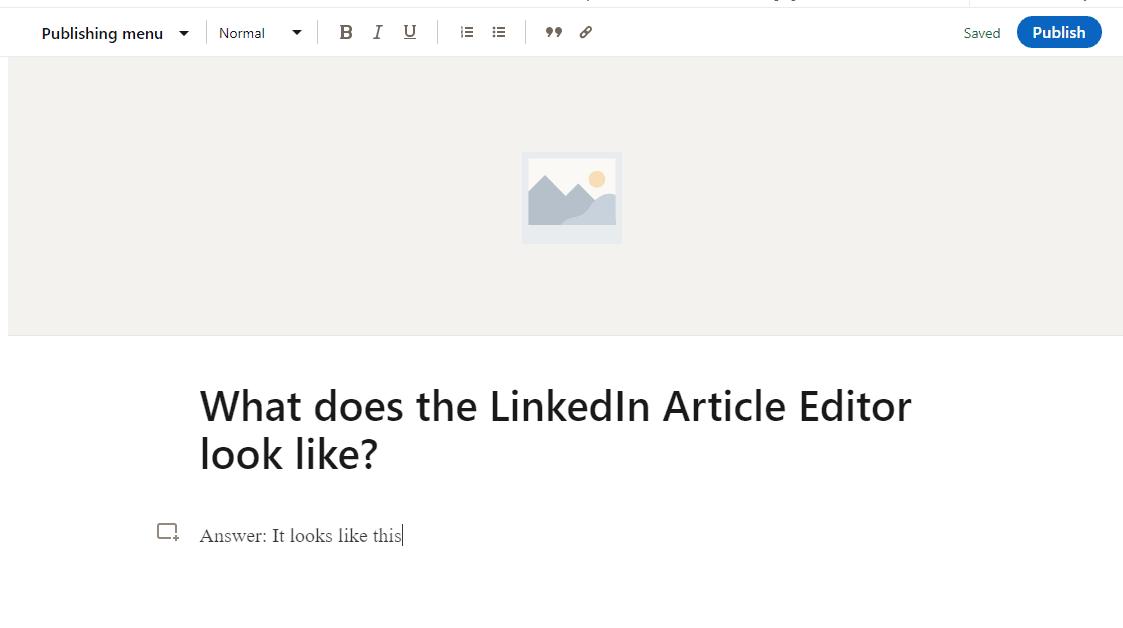 Linkedin article editor