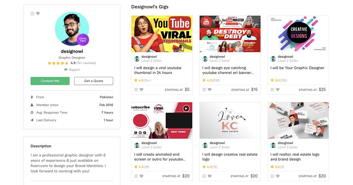 Fiverr profile – DesignOwl