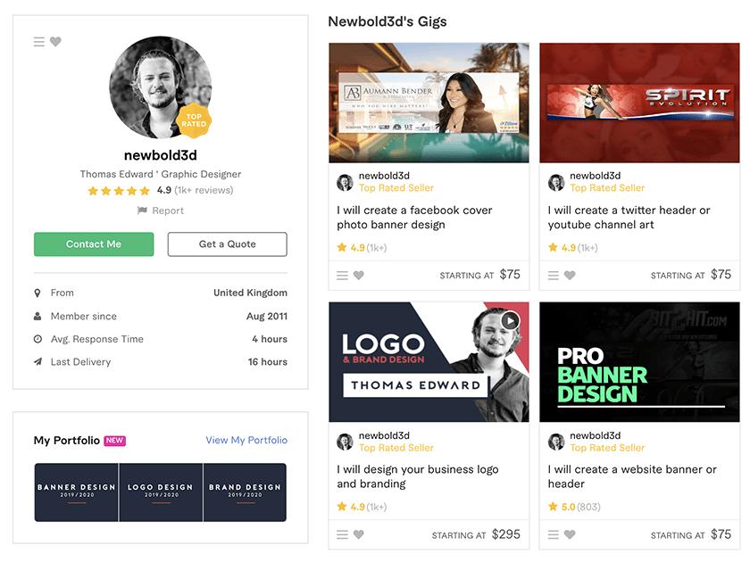 Fiverr profile – Newbold3D