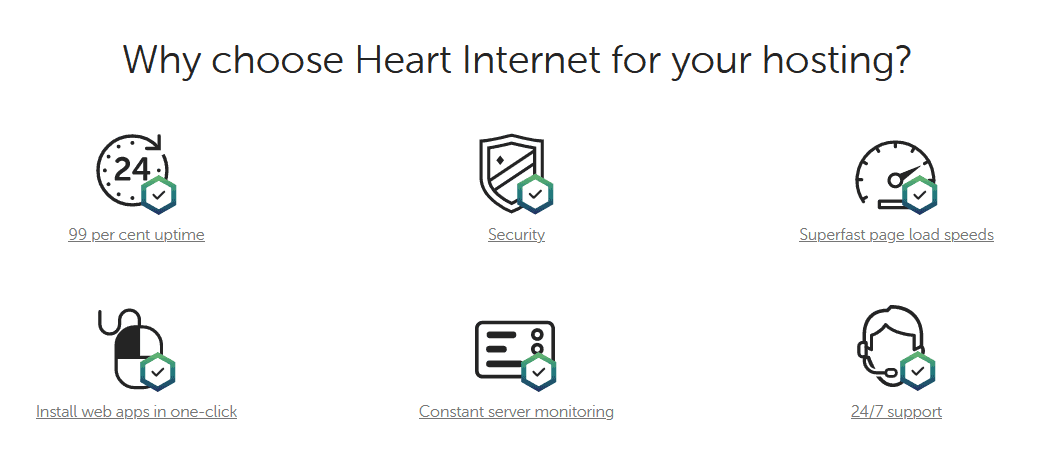 Heart Internet - shared hosting features