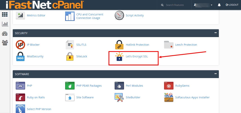 iFastNet - shared hosting dashboard