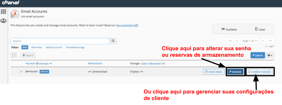 cPanel - manage email account