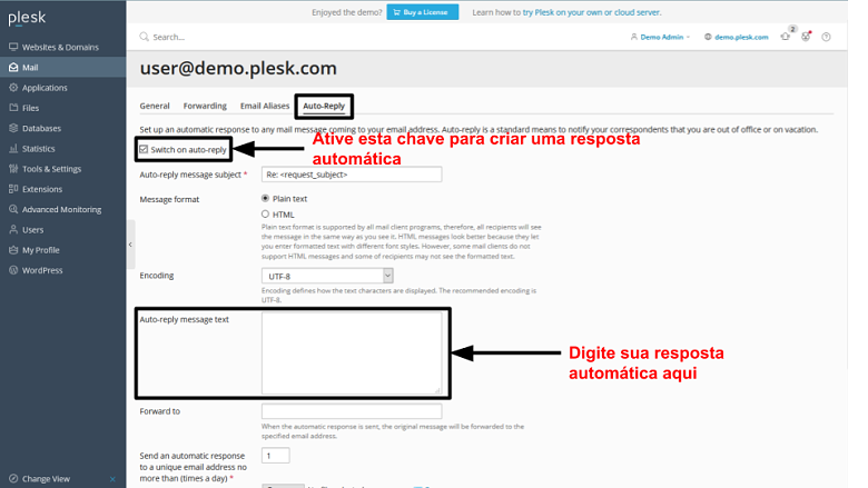 Plesk - email auto-reply