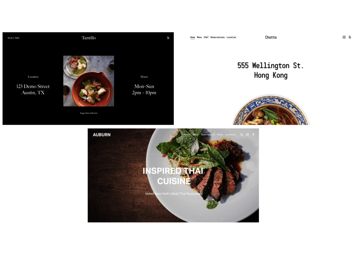 Squarespace Tantillo, Chotto, and Auburn template demo pages
