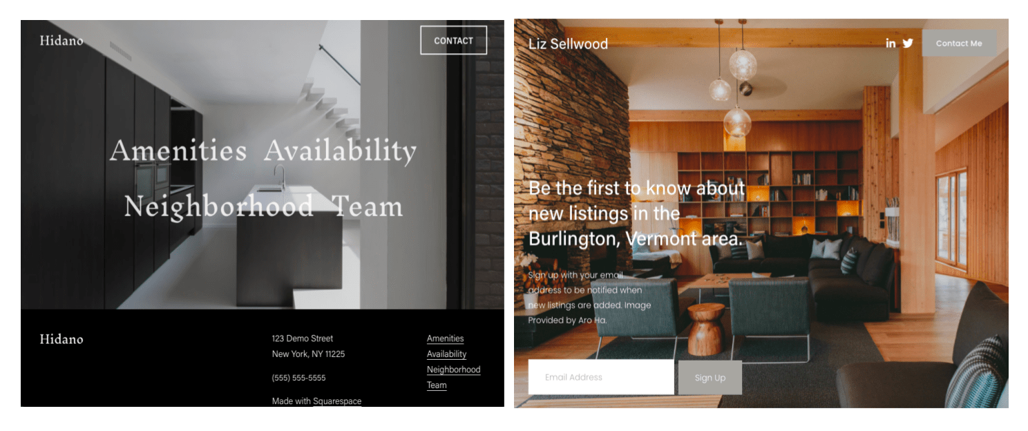 Squarespace templates - Hidano and Sellwood