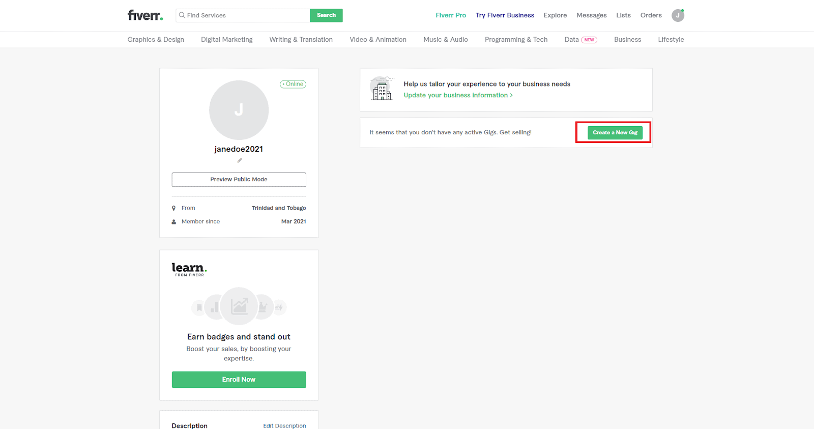 Fiverr screenshot - profile edit