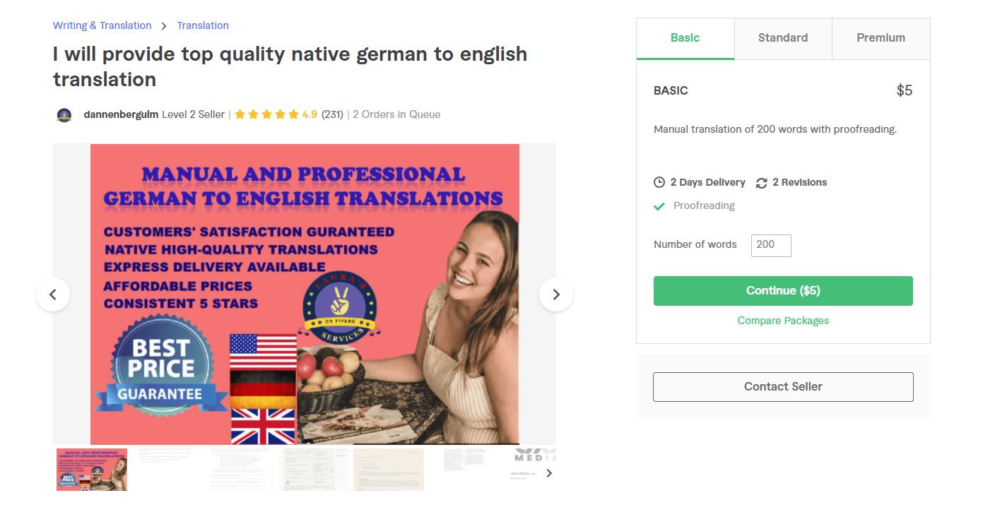 Fiverr screenshot - dannenbergulm german translation services gig