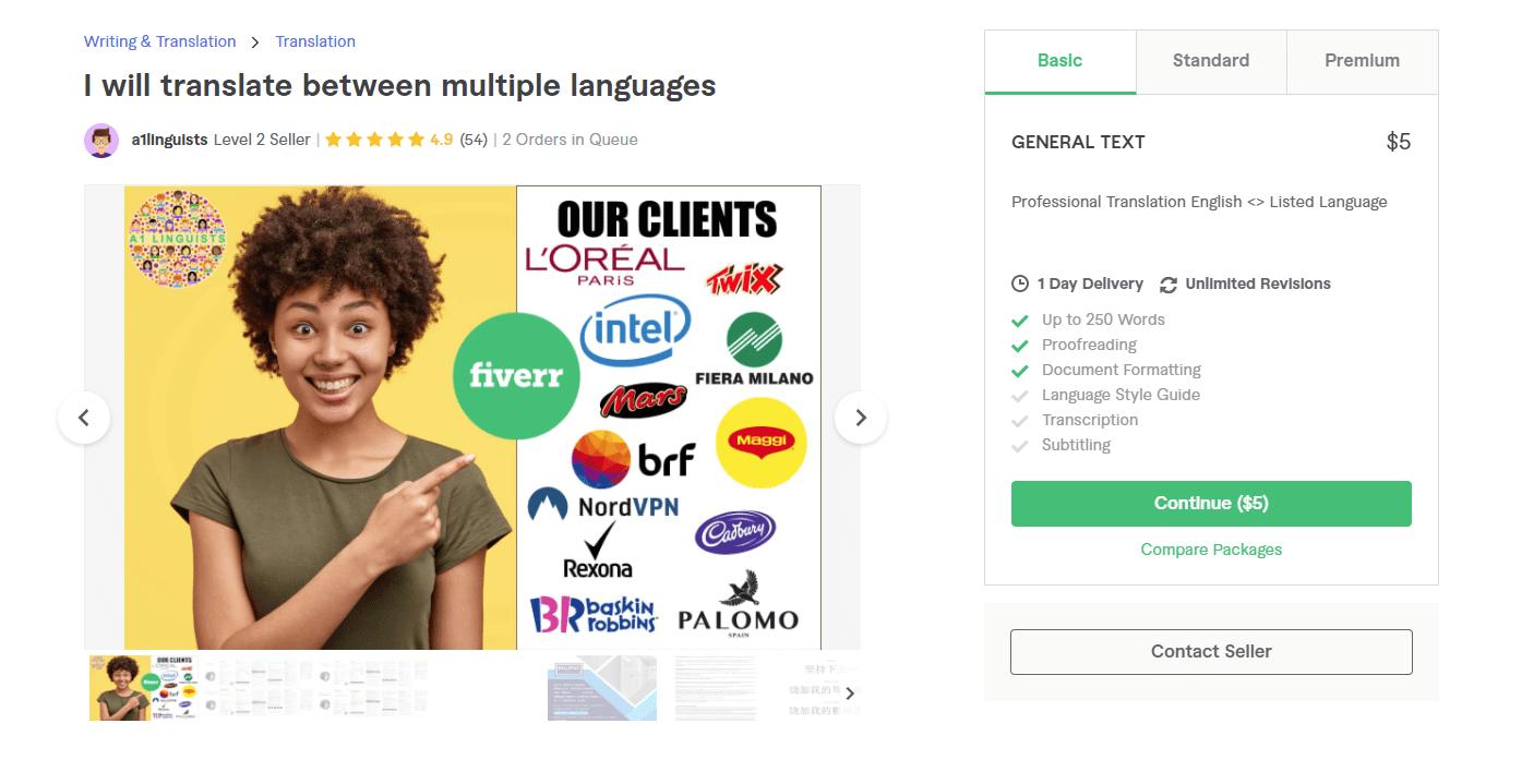 Fiverr screenshot - a1linguists transcription services gig