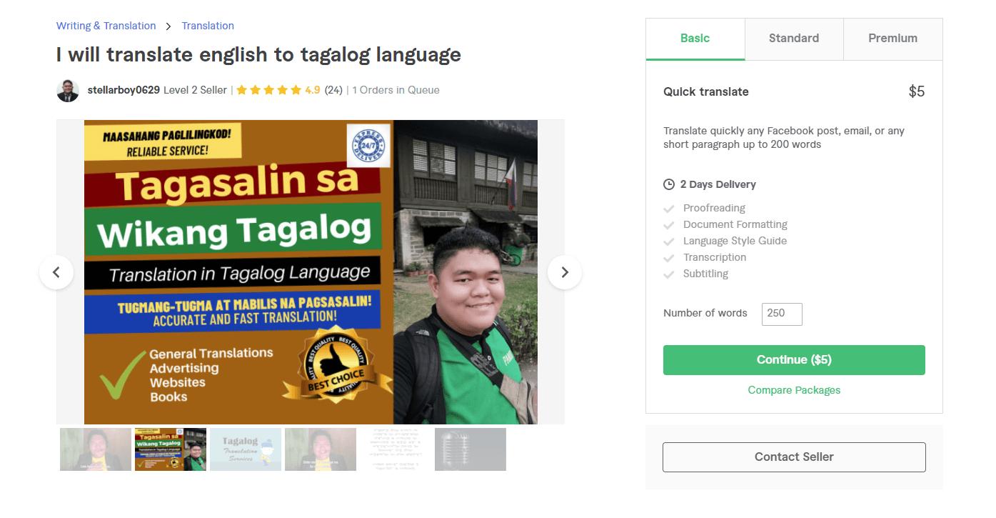 Fiverr screenshot - stellarboy0629 tagalog translation services gig