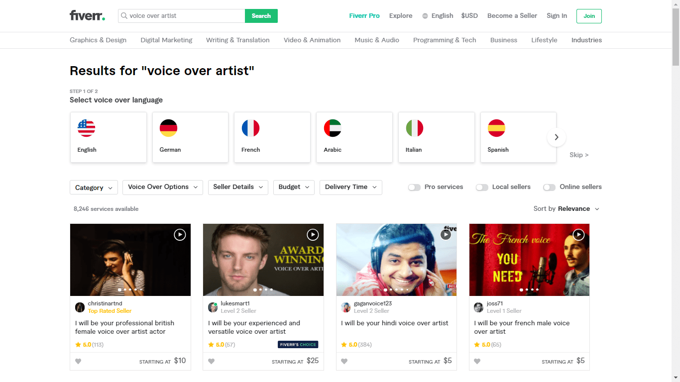 Fiverr screenshot - voice over artists