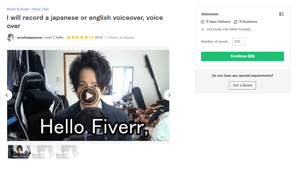 Fiverr screenshot - sorathejapanese japanese voice over artist gig