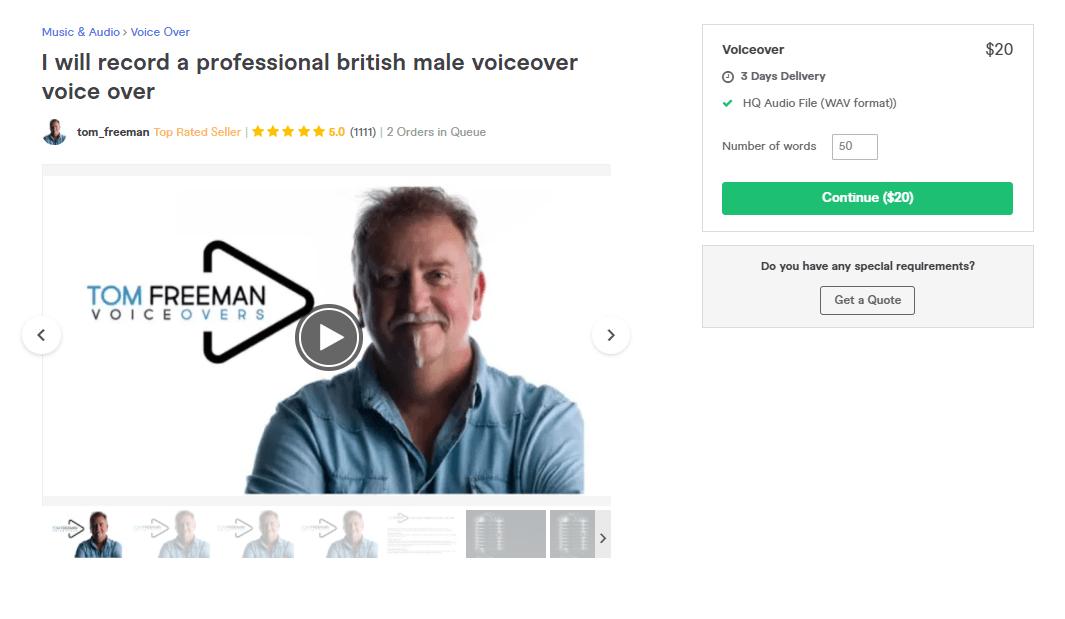 Fiverr screenshot - tom_freeman british voice over artist gig