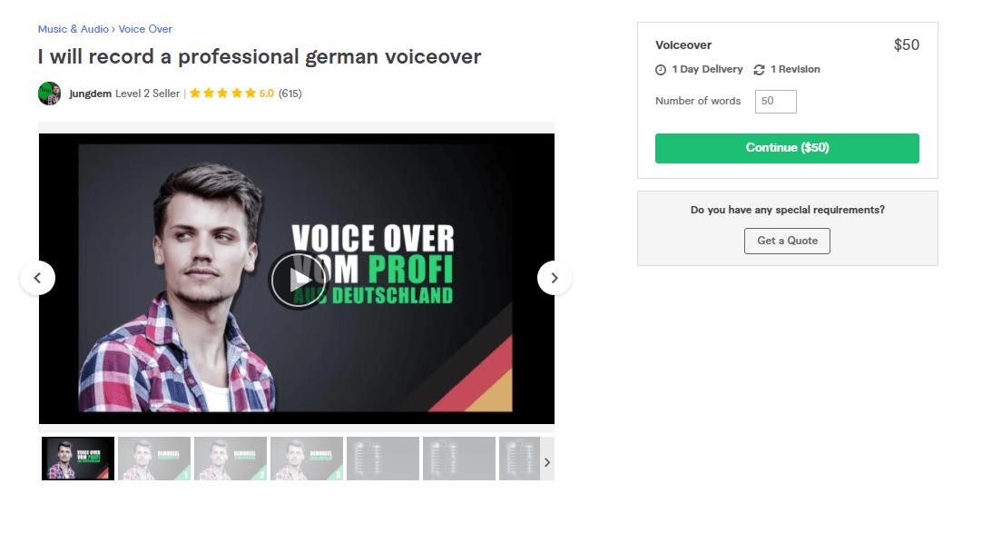 Fiverr screenshot - jungdem german voice over artist gig