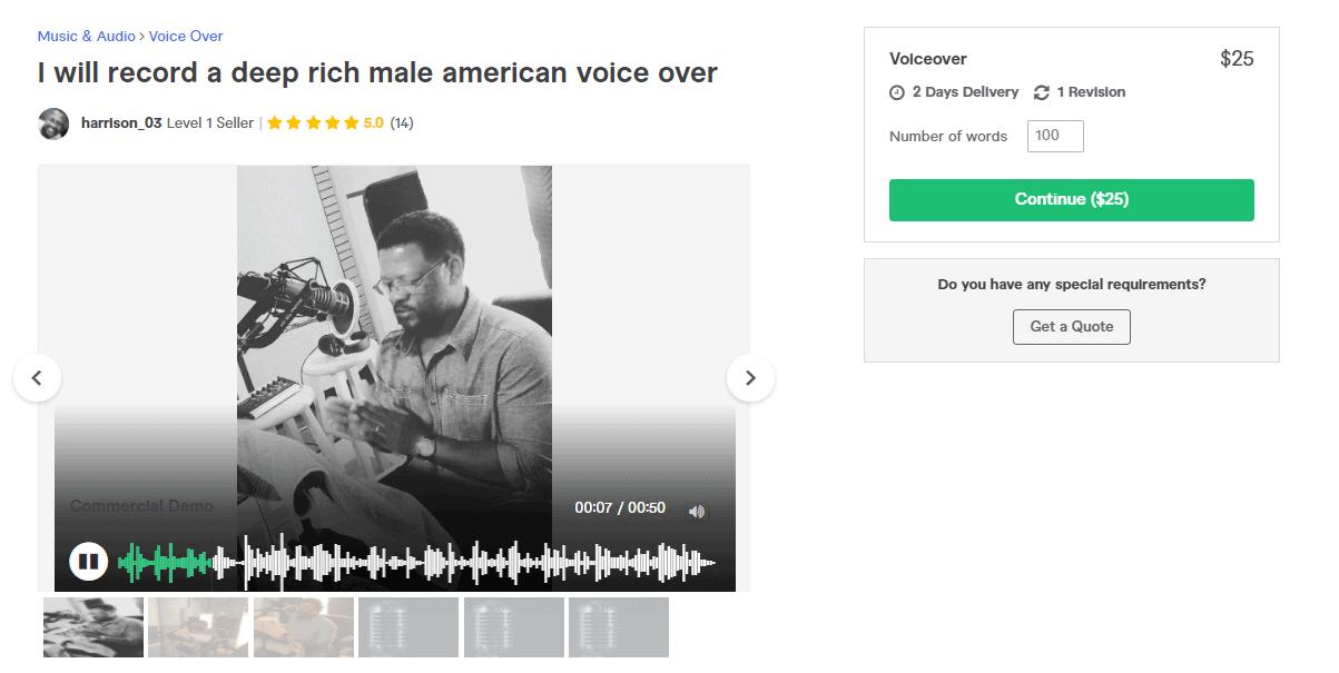 Fiverr screenshot - harrison_03 american voice over artist gig