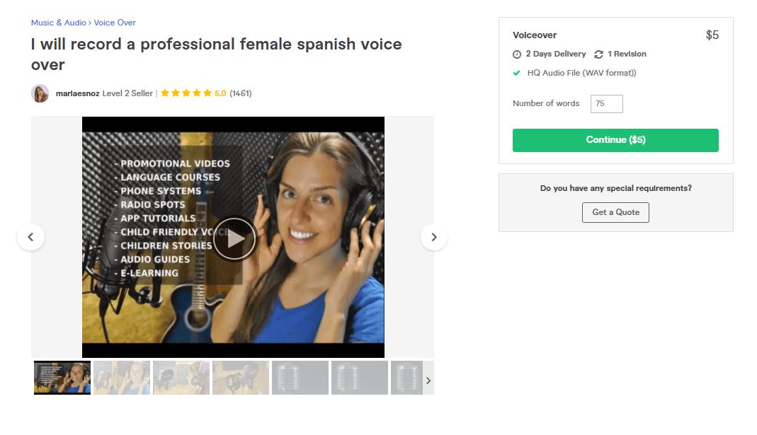 Fiverr screenshot - mariaesnoz spanish voice over artist gig