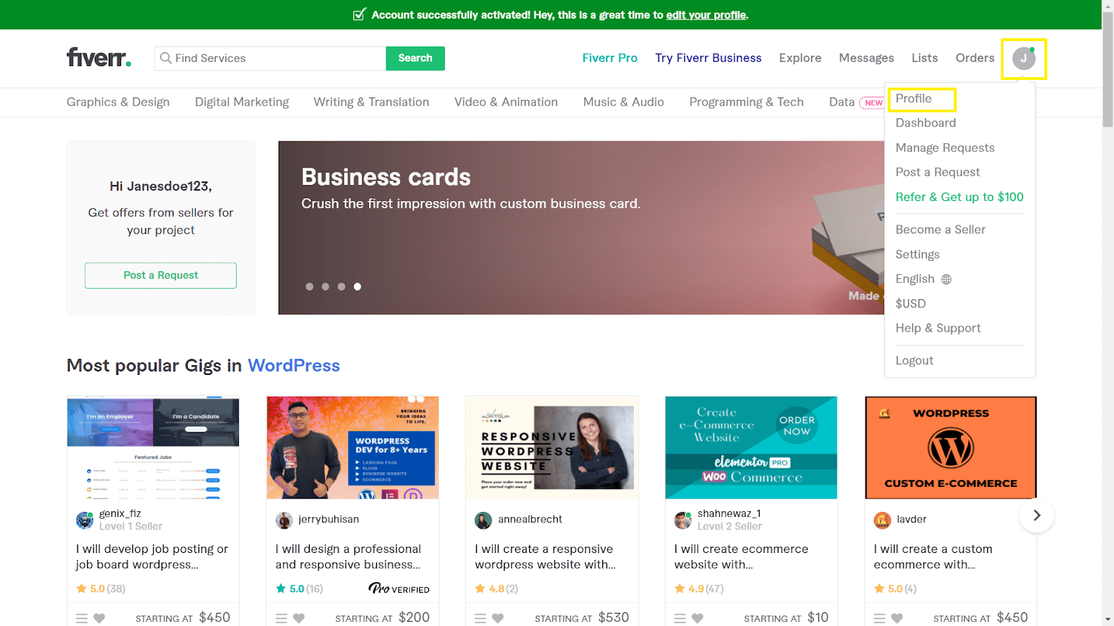 Fiverr screenshot - seller main page
