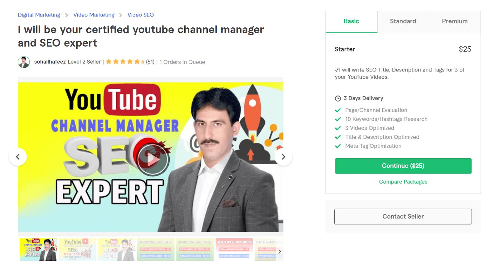 Fiverr screenshot - sohailhafeez youtube channel manager gig