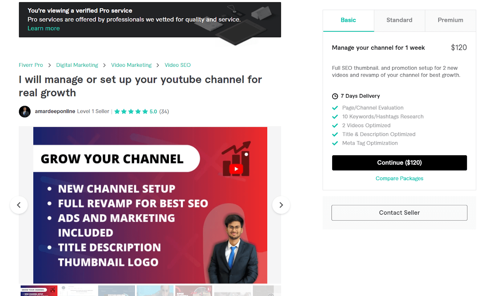 Fiverr screenshot - amardeeponline youtube channel manager gig