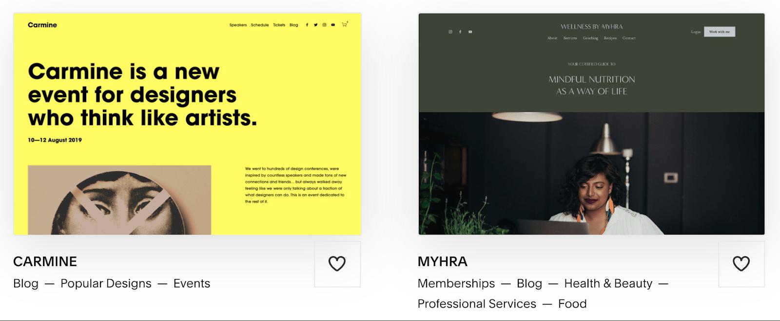 Squarespace Carmine and Myhra templates
