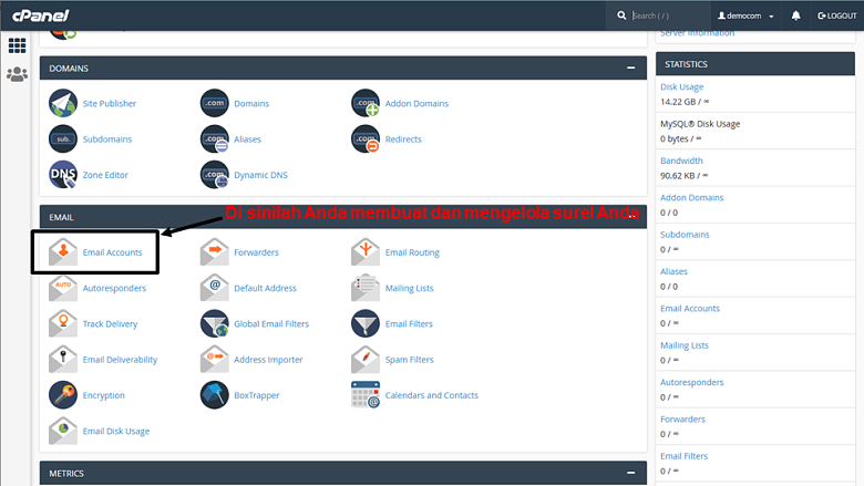 cPanel - main page 1
