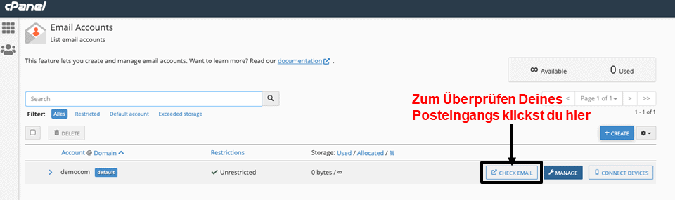 cPanel - check email inbox