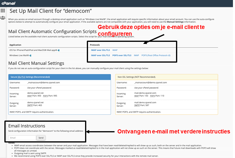 cPanel - email client configuration