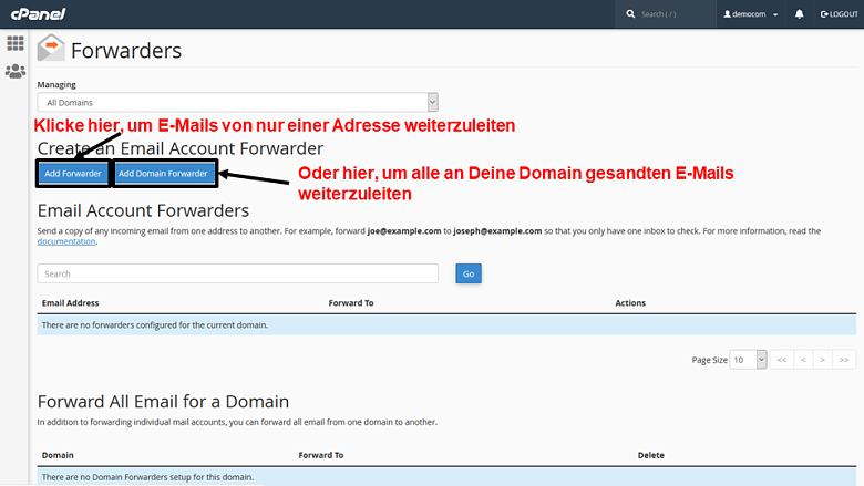 cPanel - email forwarders 1